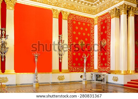 ST PETERSBURG, RUSSIA � JANUARY 25, 2015: Peter Great Memorial Hall of Winter Palace was created for Tsar Nicholas I in 1833, by architect Auguste de Montferrand - stock photo