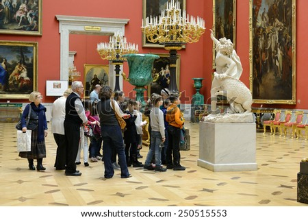 ST PETERSBURG, RUSSIA - JANUARY 24, 2015:State Hermitage is museum of art and culture. One of oldest museums in world, it was founded in 1764 by Catherine Great - stock photo