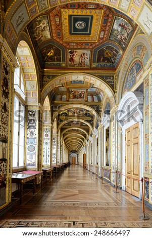 ST PETERSBURG, RUSSIA - JANUARY 25,2015:State Hermitage is museum of art and culture. One of oldest museums in world, it was founded in 1764 by Catherine Great - stock photo