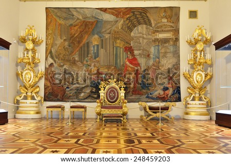 ST PETERSBURG, RUSSIA - JANUARY 25, 2015:State Hermitage is museum of art and culture. This throne of Emperor Paul I, who became Grand Master of Order of Malta in 1790, was made by T. Bonaveri - stock photo