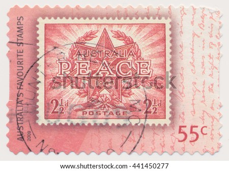 ST. PETERSBURG, RUSSIA - JUNE 22, 2016: A postmark printed in Australia, shows Official Crest and Inscription Peace, series old postage stamp on a new, circa 2009 - stock photo