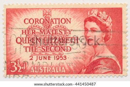 ST. PETERSBURG, RUSSIA - JUNE 22, 2016: A postmark printed in Australia, shows Queen Elizabeth II, Coronation Issue, circa 1953 - stock photo
