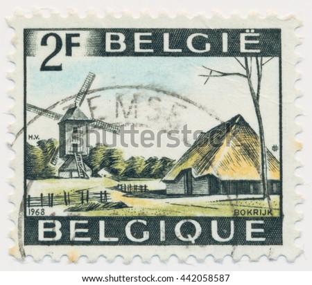 ST. PETERSBURG, RUSSIA - JUNE 23, 2016: A postmark printed in BELGIUM, shows Windmill, Bokrijk, circa 1968 - stock photo