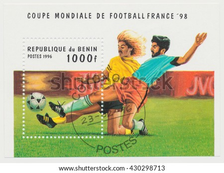 ST. PETERSBURG, RUSSIA - JUNE 1, 2016: A postmark printed in Benin shows France Soccer 1998 FIFA World Cup, Souvenir sheet, circa 1996 - stock photo