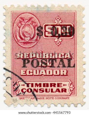ST. PETERSBURG, RUSSIA - JUNE 22, 2016: A postmark printed in ECUADOR, shows  Ecuador coat of arms and  inscription Postal, owerprint, circa 1951 - stock photo
