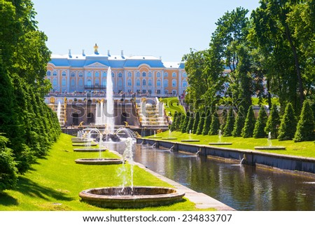 ST PETERSBURG, RUSSIA - JUNE 15, 2014: Fountains and Sea Channel in Peterhof Palace. The Peterhof Palace included in the UNESCO's World Heritage List. - stock photo