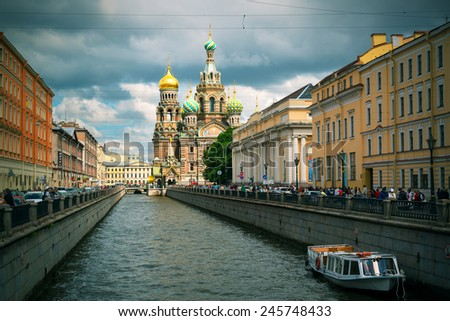 ST PETERSBURG, RUSSIA - JUNE 13, 2014: The Church of the Savior on Spilled Blood. It is an architectural landmark of city and a unique monument to Alexander II the Liberator. - stock photo