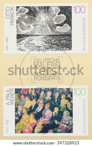 ST. PETERSBURG, RUSSIA - MAR 28, 2016: A postmark printed in Bonn, Germany, shows picrures Sea and Sun, by Otto Pankok (1893-1966) and Audience, by A. Paul Weber (1893-1980), circa 1993 - stock photo
