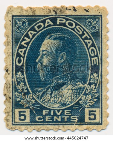 ST. PETERSBURG, RUSSIA - MAY 21, 2016: A postmark printed in CANADA, shows portrait of King George V (1865-1936), circa 1911 - stock photo