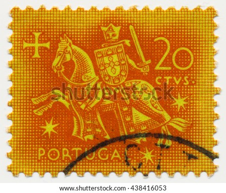 ST. PETERSBURG, RUSSIA - MAY 17, 2016: A postmark printed in PORTUGAL, shows Equestrian Seal of King Diniz (1261-1325), circa 1953 - stock photo
