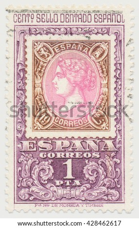 ST. PETERSBURG, RUSSIA - MAY 28, 2016: A postmark printed in SPAIN, shows postage stamp 1865 Queen Isabella second on a postage stamp, circa 1965 - stock photo