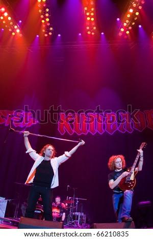 """ST. PETERSBURG, RUSSIA - OCTOBER 20: Group """"ARTERIA"""" in concert on OCTOBER 20, 2010 in St Petersburg, Russia - stock photo"""