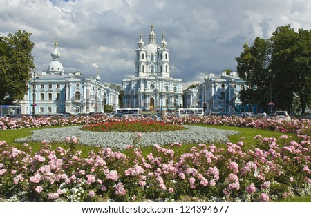 St. Petersburg, Russia, Resurrection cathedral of Ressurrection Novodevichiy Smolniy cloister (monastery). - stock photo