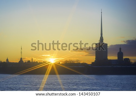 St. Petersburg, Russia, The Peter and Paul Cathedral during sunset - stock photo