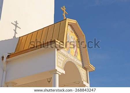 ST. PETERSBURG, SESTRORESK, RUSSIA - MARCH 25, 2015: Entrance to Sts. Peter and Paul Church located near St Petersburg. - stock photo