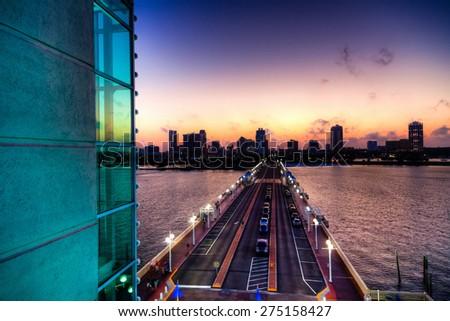 St. Petersburg Skyline at Sunset - stock photo