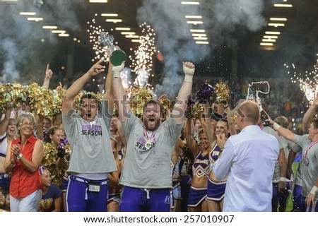 ST. POELTEN, AUSTRIA - JULY 27 DL Florian Gr�¼nsteidl (#94 Vikings) and OL Valentin Gruber (#79 Vikings) celebrate the victory at Austrian Bowl XXVII on July 27, 2013 in St. Poelten, Austria. - stock photo