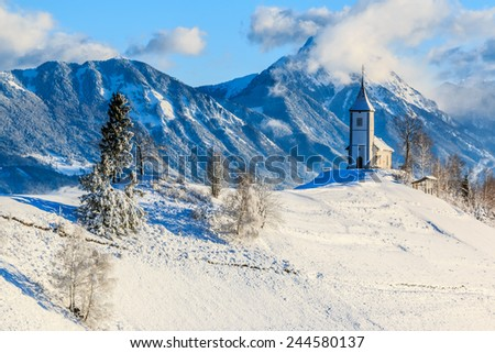 St. Primoz church near Jamnik in the morning, Slovenia  - stock photo