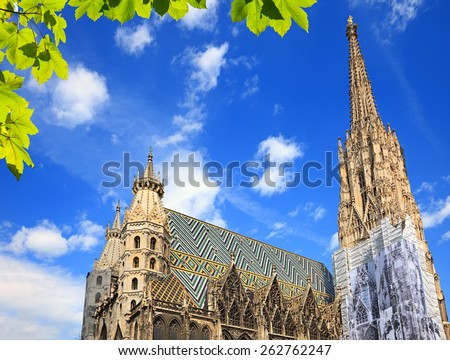St. Stephan cathedral in Vienna at summertime - stock photo