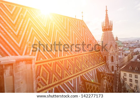 St. Stephen Cathedral Roof - stock photo