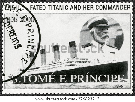 ST. THOMAS AND PRINCE ISLANDS - CIRCA 1998: A stamp printed in St.Thomas and Prince Islands shows Captain Edward John Smith and Titanic, circa 1998 - stock photo