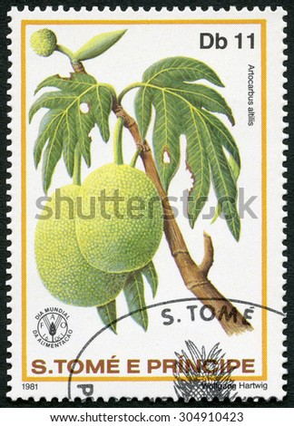 ST. THOMAS AND PRINCE ISLANDS - CIRCA 1981: A stamp printed in St.Thomas and Prince Islands shows  Artocarbus altilis, Breadfruit, series World Food Day, circa 1981 - stock photo