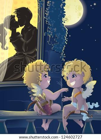 "St.Valentine day. Cartoon with Cupids. ""Good work, pal!"":) - stock photo"