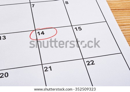 St Valentine day in agenda on 14 february - stock photo