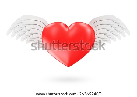 St Valentine's Day or Love Concept. Shiny Red Heart with Angel White Wings isolated on white background - stock photo