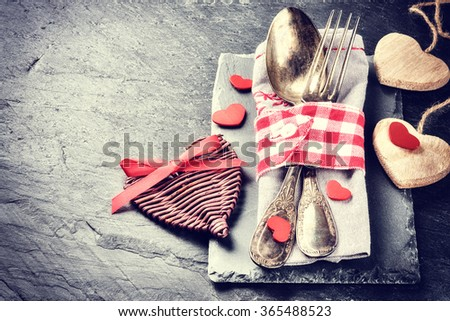 St Valentine's table setting with decorative hearts. Copy space - stock photo