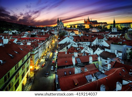 St. Vitus Cathedral and Tower of St Nicholas Church, Prague, Czech republic. - stock photo