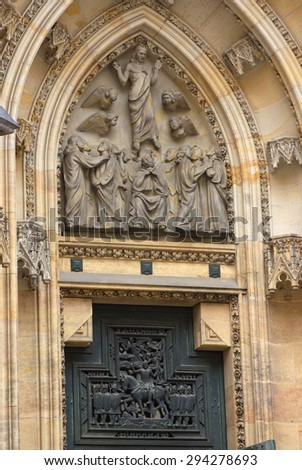 St. Vitus Cathedral in Prague, Czech Republic, fragment - stock photo