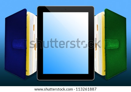 Stack Books and tablet - stock photo