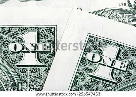 Stack details of one dollar bills close-up shot. - stock photo