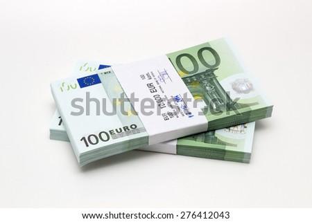 stack money of hundred euro - stock photo