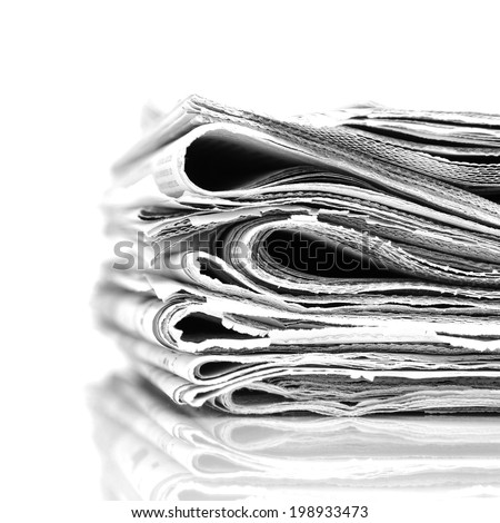Stack newspapers - black and white image - stock photo