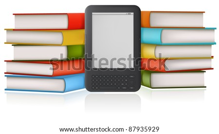 Stack of a books and book-reader. - stock photo