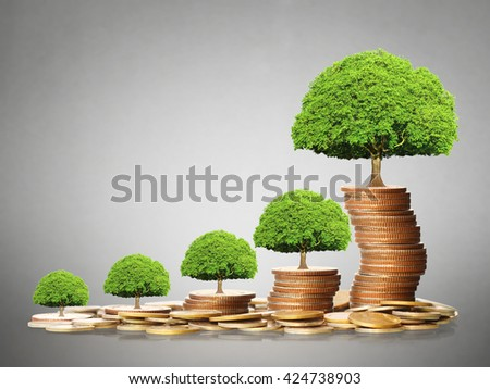 Stack of a golden coins isolated - stock photo