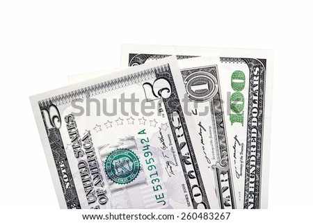 Stack of American dollar bills. Isolated. - stock photo