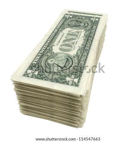 stack of American money isolated on white background (version with depth of field) - stock photo