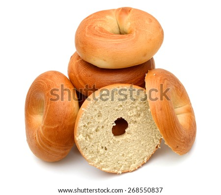 stack of bagels isolated on white  - stock photo