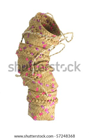 Stack of Baskets on White Background - stock photo