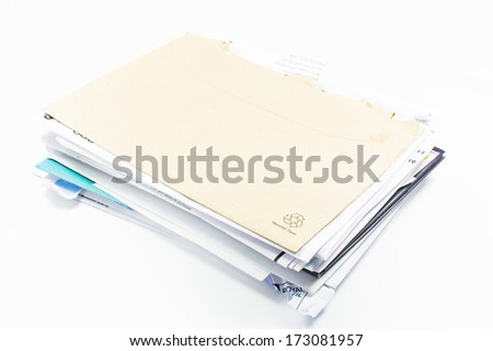 Stack of bills to pay - stock photo