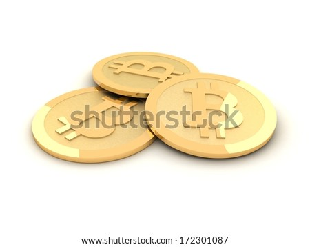 Stack of bitcoins isolated on white - stock photo