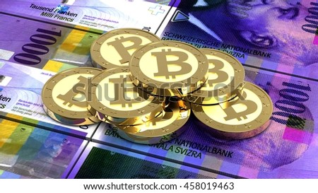 Stack of bitcoins with Swiss franc bills. 3D illustration. - stock photo