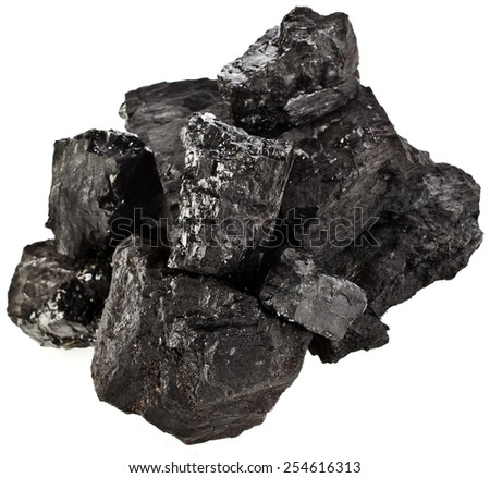 stack of black coal isolated on white background - stock photo
