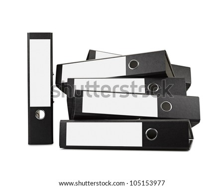 Stack of black office folders ( clipping path) there is a path for the labels - stock photo