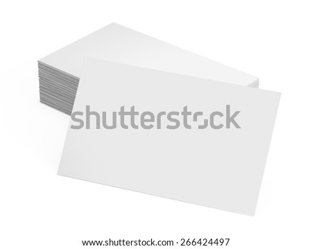 Stack of blank business card isolated on white - stock photo