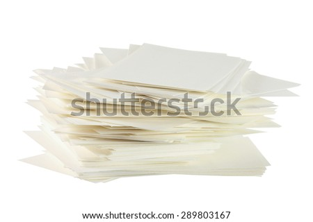 Stack of Blank Cards on White Background - stock photo