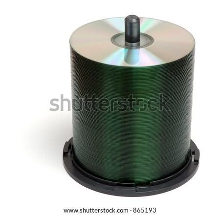 Stack of blank CDs, isolated on white background - stock photo